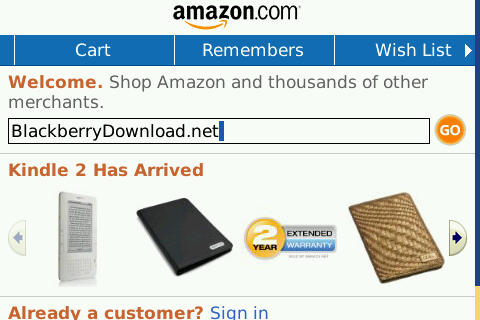 Amazon.com blackberry app free