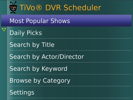 TiVo for BlackBerry free