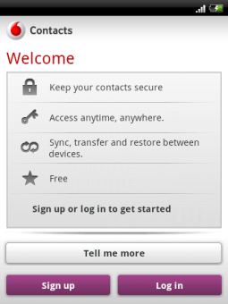 Vodafone Contacts free download for BlackBerry Bold, Curve